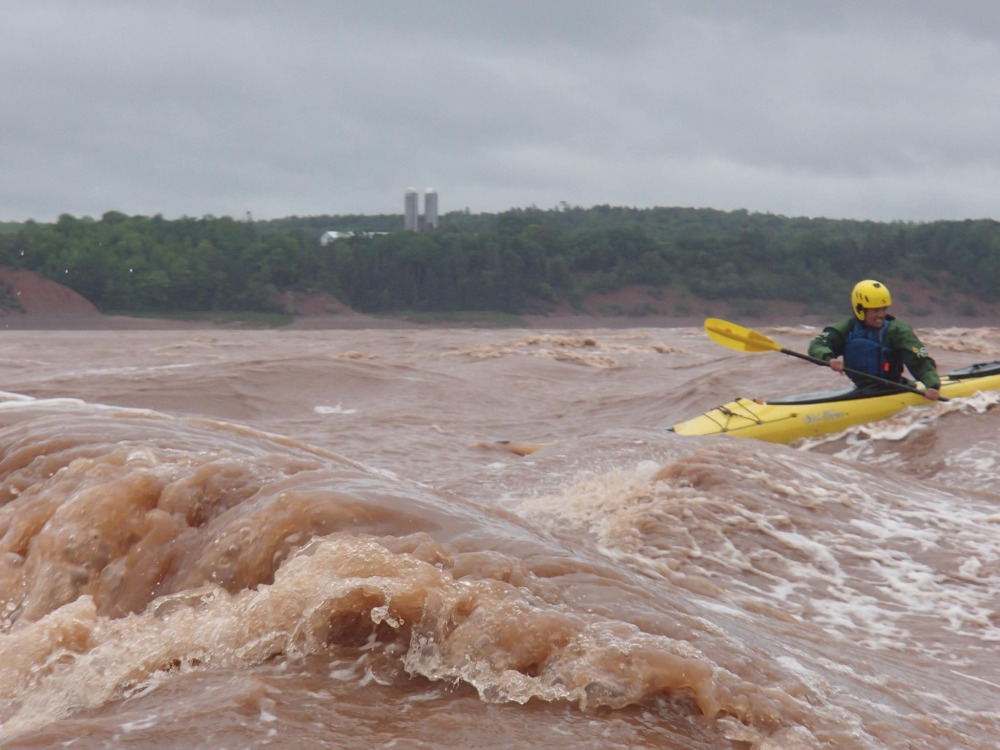 "June 14, 2014 - Tidal Bore - Part 1 -Paddling the end of the ""Killer K"", on the Shubenacadie Tidal Bore."