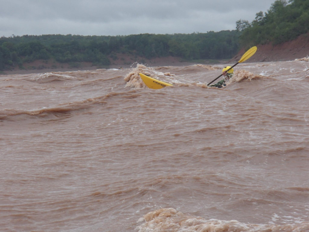 "June 14, 2014 - Tidal Bore - Part 3 -Paddling the end of the ""Killer K"", on the Shubenacadie Tidal Bore."