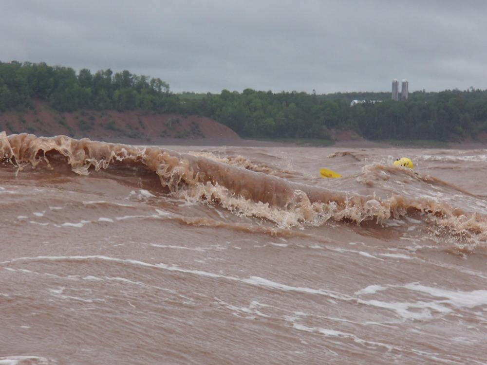 "June 14, 2014 - Tidal Bore - Part 2 -Paddling the end of the ""Killer K"", on the Shubenacadie Tidal Bore."