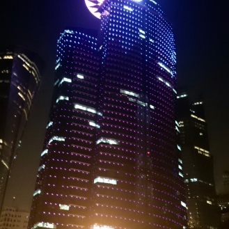 The Qatar Petroleum Tower lit with the Qatar Flag!! The space ship on the top of the building is said to be the office of the CEO of Qatar Petroleum!!!