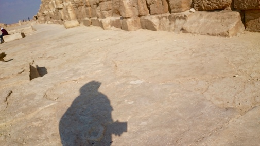 This picture happened by accident - and it's cool - it's my shadow as I look up at the pyramid!!!
