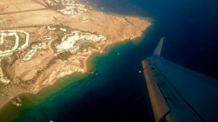 Flying over on of the many resorts lining the coast of Sharm el-Sheikh!!