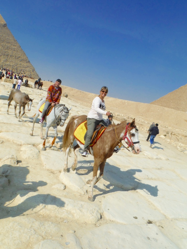 We're riding along the causeway from the Funerary Temple of Khafre to the Valley Temple of Khafre