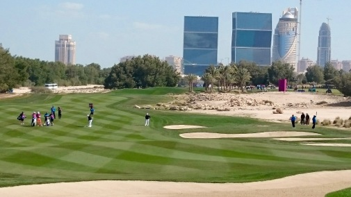 The players making their way up the fairway (I can't remember what exact hole this is, except it's before the 9th Hole)
