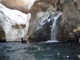 Inside the cave there is a waterfall.