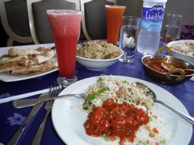 Mushroom noodles, butter chicken, vegetable rice, watermelon and carrot juice