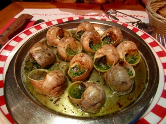 Escargots de Bourgogne with a glass champagne!!