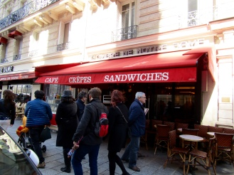 Back over on Ile de la Cite, we stop in for some lunch at a cafe across from Notre Dame. The cafe is called a l'ombre de Notre Dame