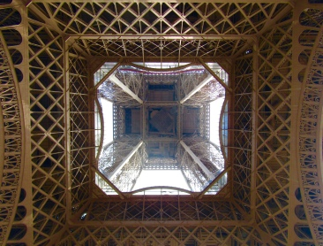 View standing directly under the Eiffel Tower.
