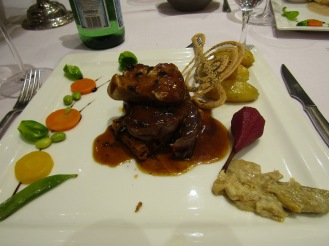 Main entree - steak with foie gras and truffles