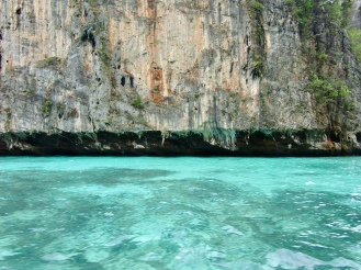 Neat limestone rocks and beautiful turquoise waters as we are leaving the cove...