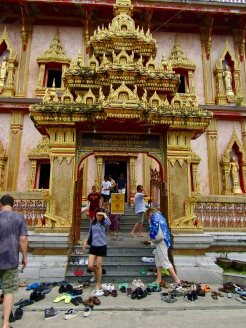 Entering the Chedi, the Shrine. Strict dress code is enforced. And absolutely no shoes allowed in the temple.