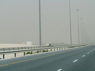 As we approach Doha, we enter a sandstorm