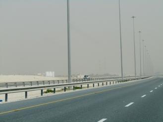 As we approach Doha, we enter a sandstorm