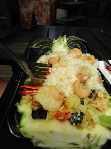 "Shrimp Fried Rice in a pineapple with weird white fluffy ""chicken???"""