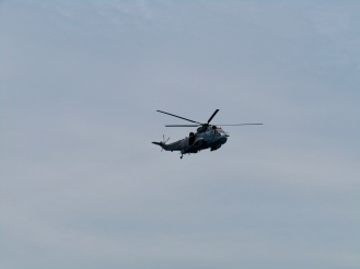 Helicopter from nearby Shearwater