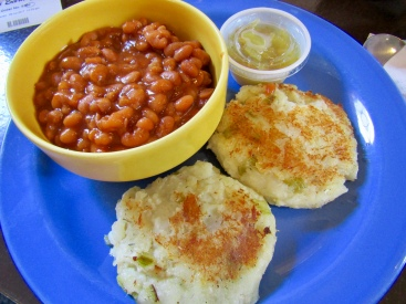 Fish cakes and homemade beans at the Bean Barn Cafe