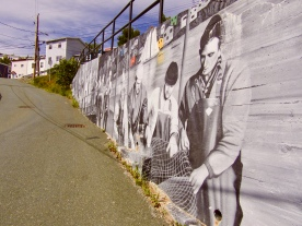 Mural on the wall on our way to the Battery to Signal Hill walk that takes us to the parking lot where our truck is