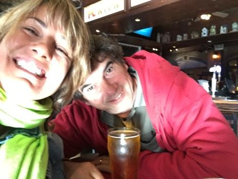 Enjoying a beer at O'Reilly's Irish Bar