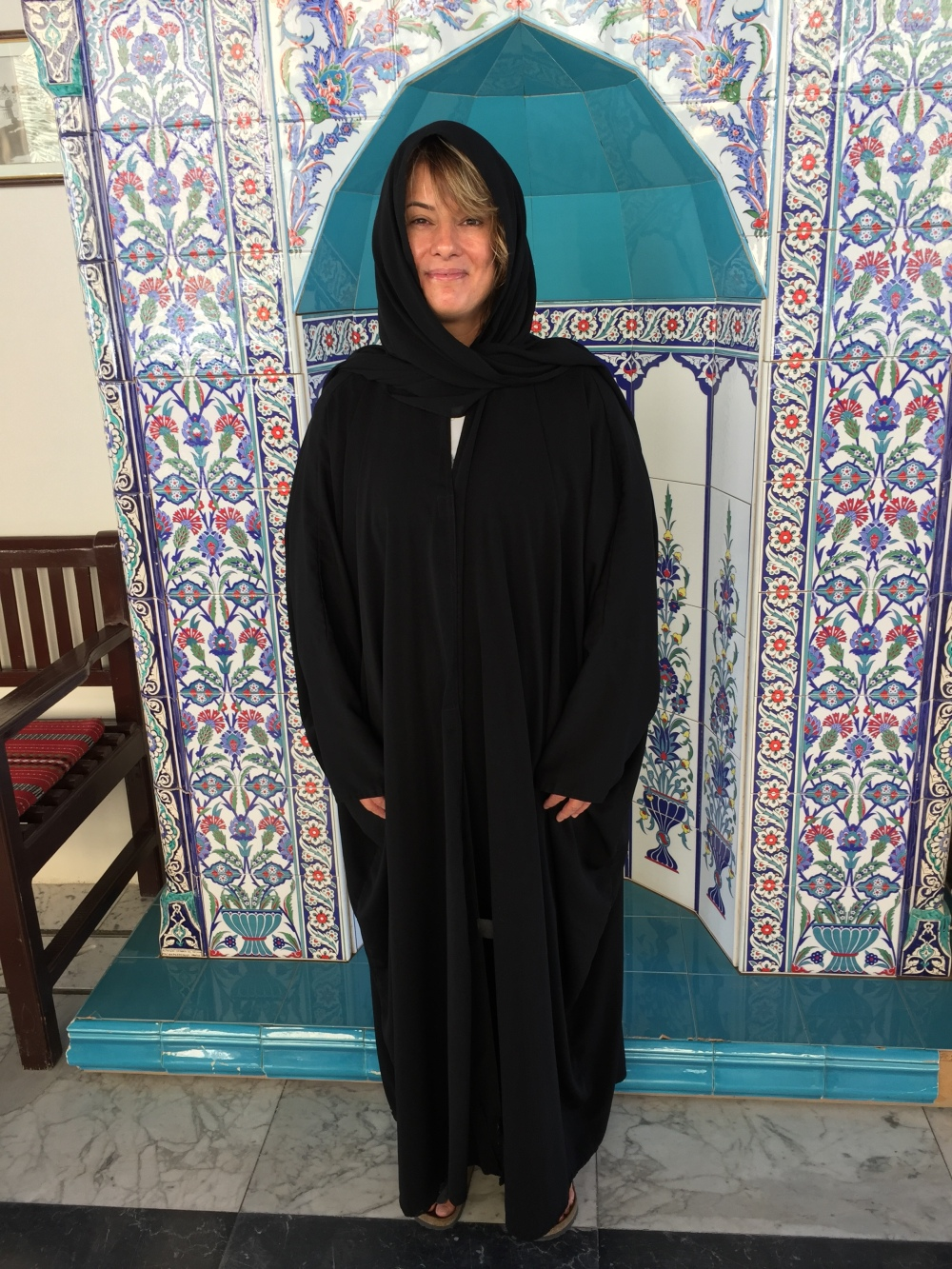 Grand Mosque of Kuwait - Kuwait City, Kuwait - Waiting area - Wearing the required abaya and shayla