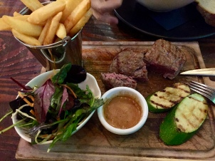 Steak, salad and fries!