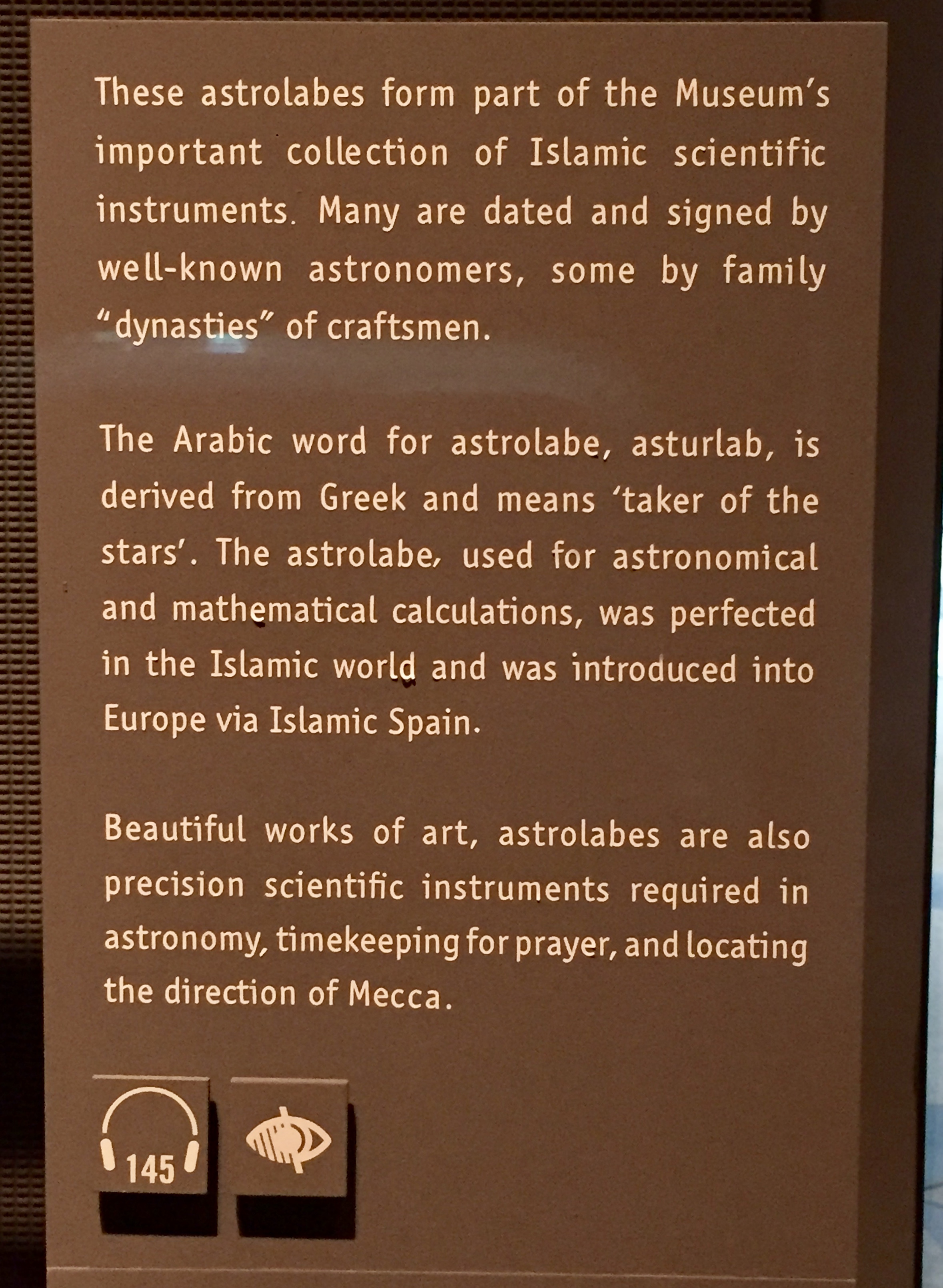 April, 2018 - Doha, Qatar - Museum of Islamic Art - Science in Art - Astrolabes - Signage
