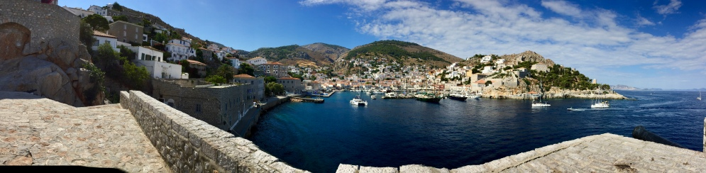 June, 2018 - Hydra, Greece - Panorama of Hydra Port