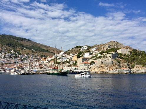 June, 2018 - Hydra, Greece - Ships moored at the Hydra Port