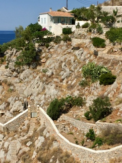 June, 2018 - Hydra, Greece - Hillside homes
