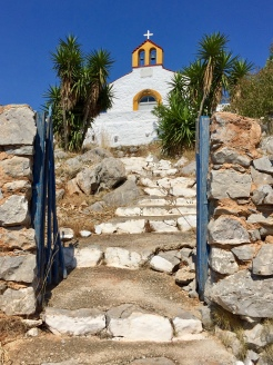June, 2018 - Hydra, Greece - Steps up to the church
