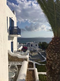 June, 2018 - Mykonos, Greece - View from hotel room patio