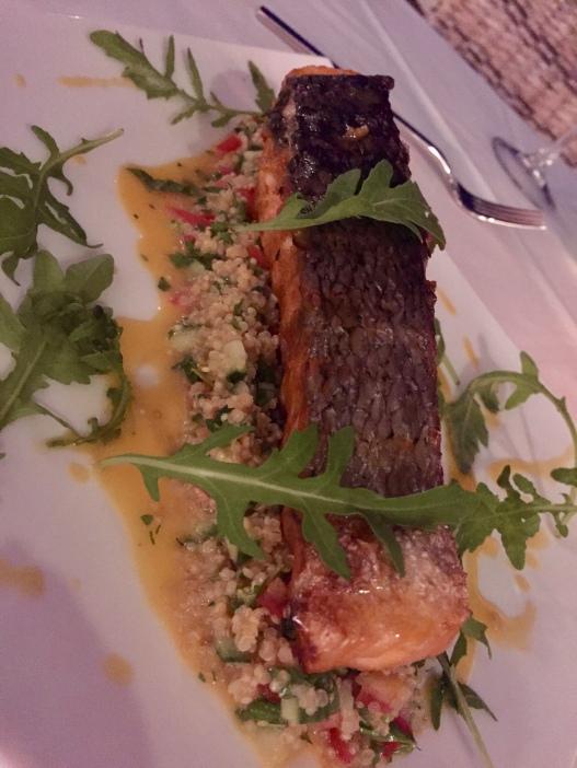 Salmon on a quinoa salad