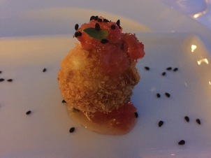 Deep fried cheese ball with a fruit chutney