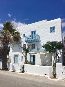 June, 2018 - Agios Prokopios, Naxos, Greece - White and blue building