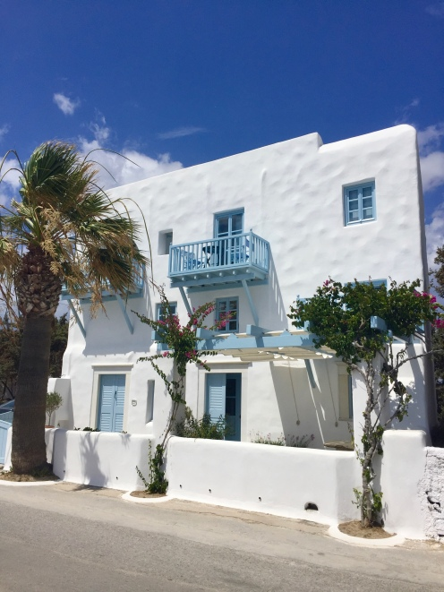 June, 2018 - Agios Prokopios, Naxos, Greece - White and blue building