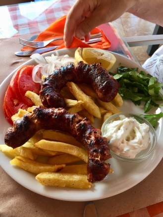 Sausages with fries and Tzatziki