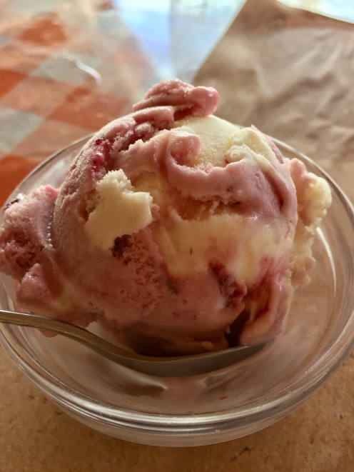 Cherry ice cream for dessert!