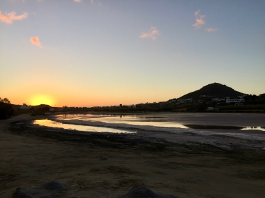 June, 2018 - Agios Prokopios, Naxos, Greece - Sunset Walk - Salt flat behind the beach