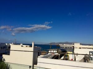 June, 2018 – Agios Prokopios , Naxos, Greece – View of the beach from the terrace