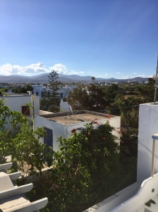 June, 2018 - Agios Prokopios , Naxos, Greece - View from the roof of Elegant Apartments Building