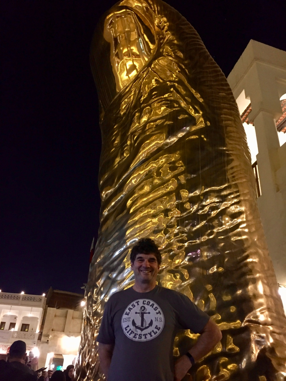 Gold Thumb by César Baldaccini in Souq Waqif to commemorate Qatar's win of the Asian Cup.