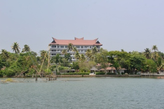 Leaving the dock - new hotel behind the marina