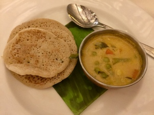 Alleppey Vegetable Curry with Wheat and Rice Pancake with Curry Leaf