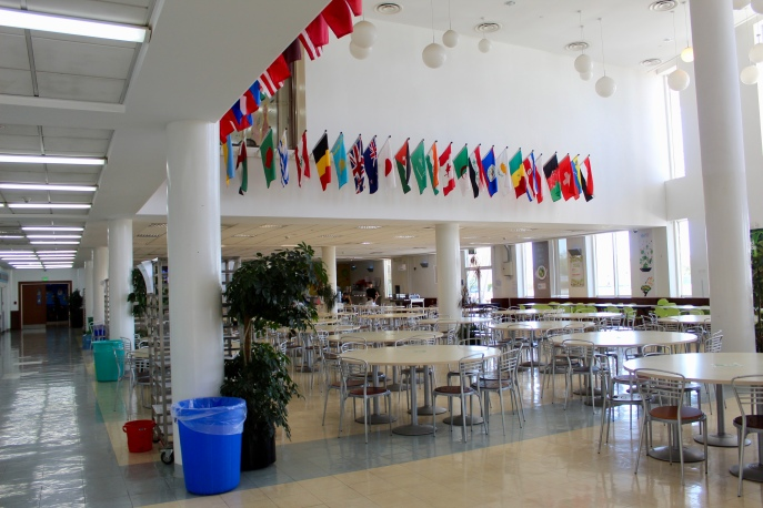 Inside the cafeteria!
