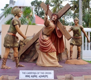 May, 2019 - Arthunkal, Kerala, India - St. Andrew's Church - The Carrying of the Cross