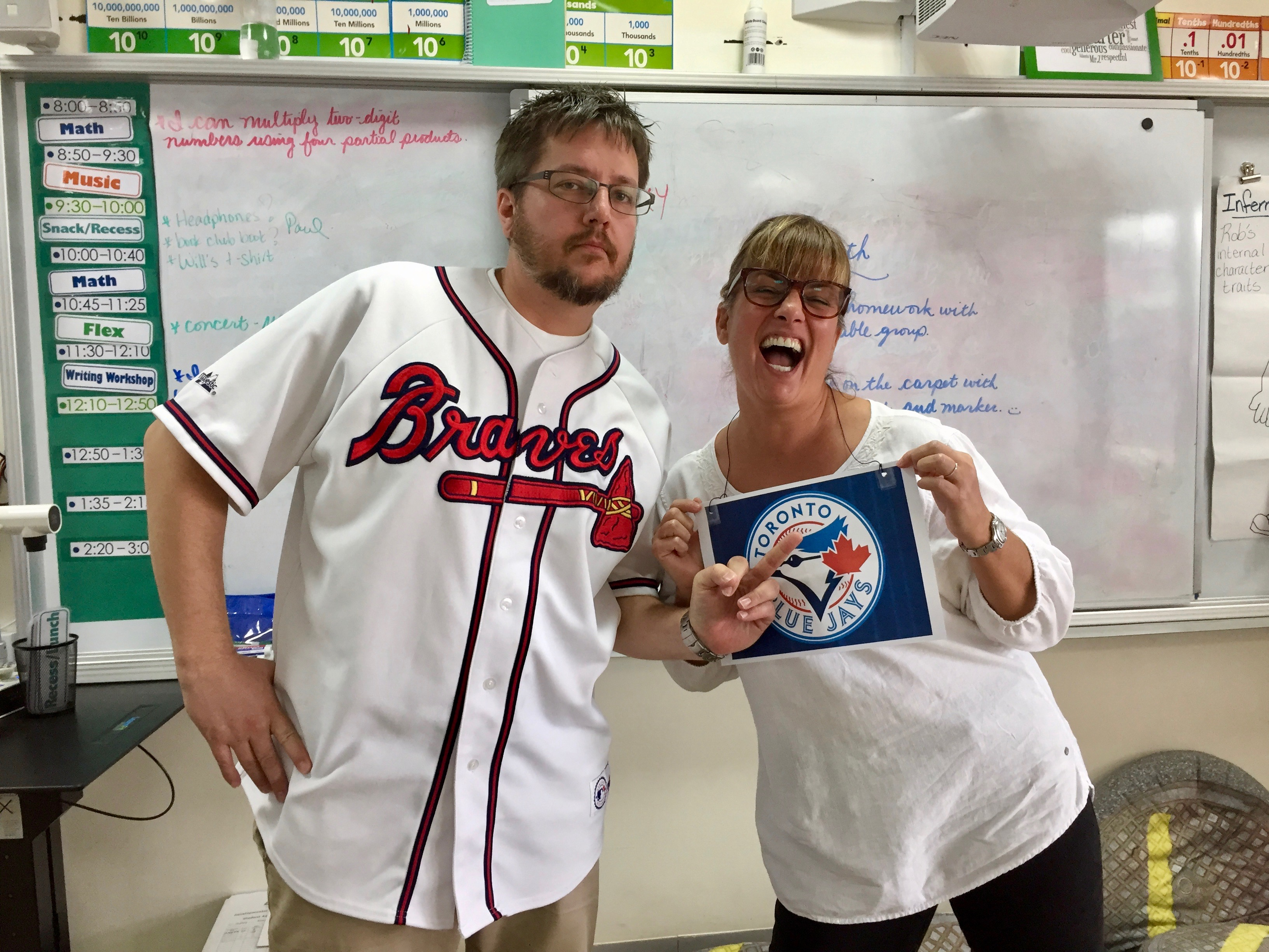 American School of Doha - Blue Jays Canadian and Atlanta Braves American never forgetting who won the World Series in 1992!!