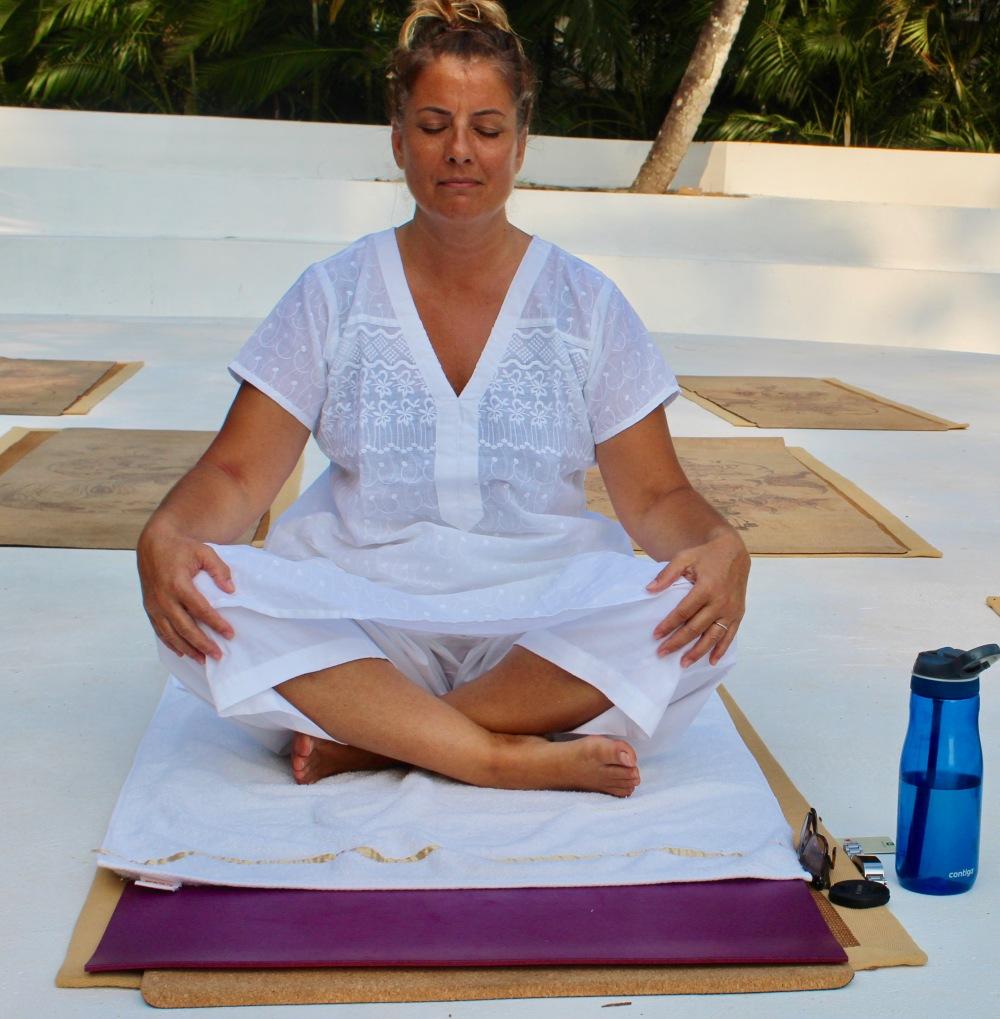2019 - March - Mararikulam North, Kerala, India - Evening yoga class at Carnoustie Ayurveda & Wellness Resort