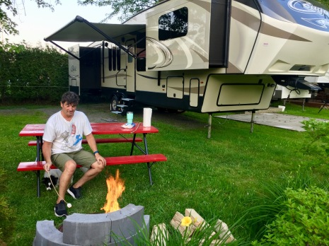 2019 - Sainte-Madeleine, Quebec - Camping Ste-Madeleine RV Park - Campfire and roasting marshmallows