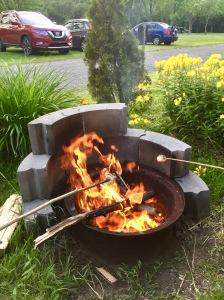2019 - Sainte-Madeleine, Quebec - Camping Ste-Madeleine RV Park - Campfire and roasting marshmallows