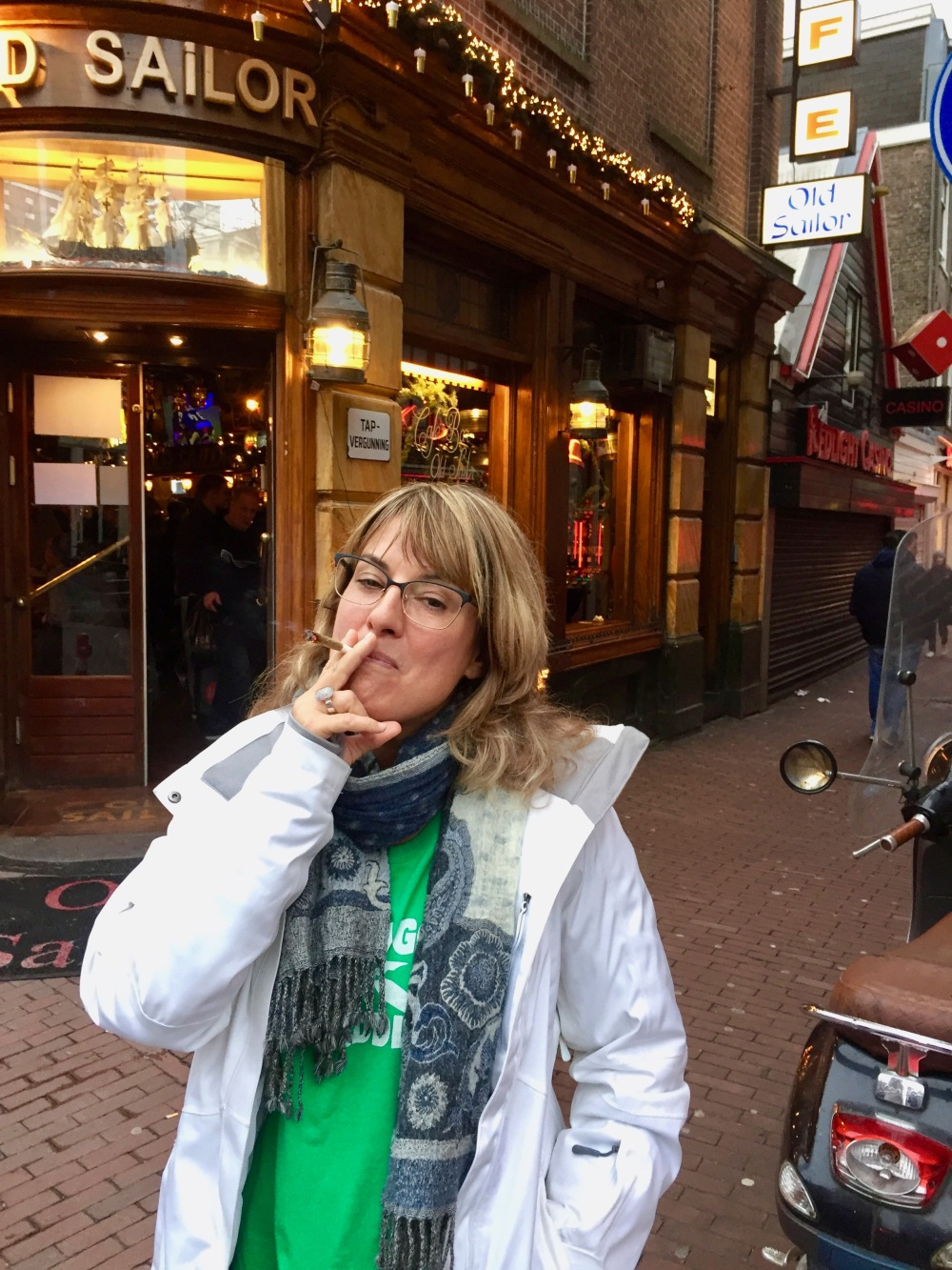 Christmas, 2017 - Red Light District, Amsterdam, North Holland, Netherlands - Enjoying a marijuana joint!